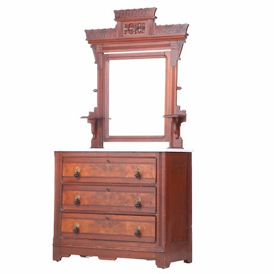 Victorian, Eastlake Style Walnut and Marble Dresser with Mirror, Late 19th C.