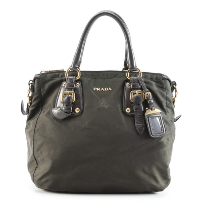 Prada Olive Green Canapa Nylon Handbag with Leather Trim