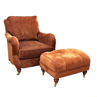 Fairfield Furniture Upholstered Armchair and Ottoman on Casters