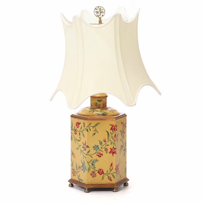 Chelsea House Floral Yellow Tole Table Lamp with Scalloped Shade