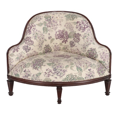 Mahogany Framed Upholstered Corner Chair, Late 20th Century