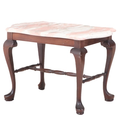 Jamestown Table Co. Queen Anne Style Mahogany-Stained and Marble Top Side Table
