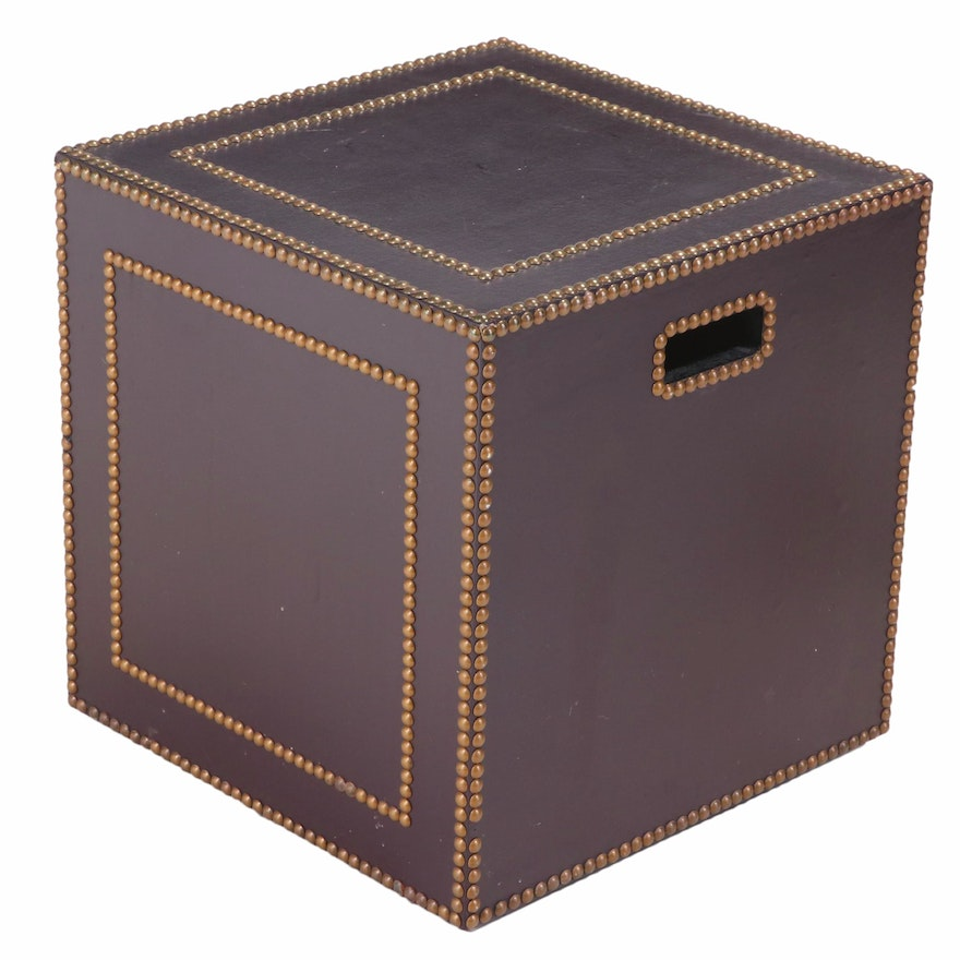 Faux-Leather and Brass-Tacked Cube-Form Side Table, Late 20th Century