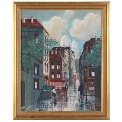 Godard Park Street Scene Oil Painting, 20th Century