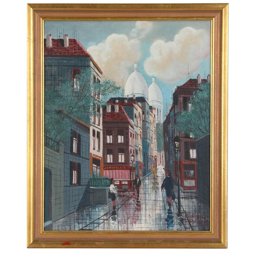 Godard Park Street Scene Oil Painting, 20th Century