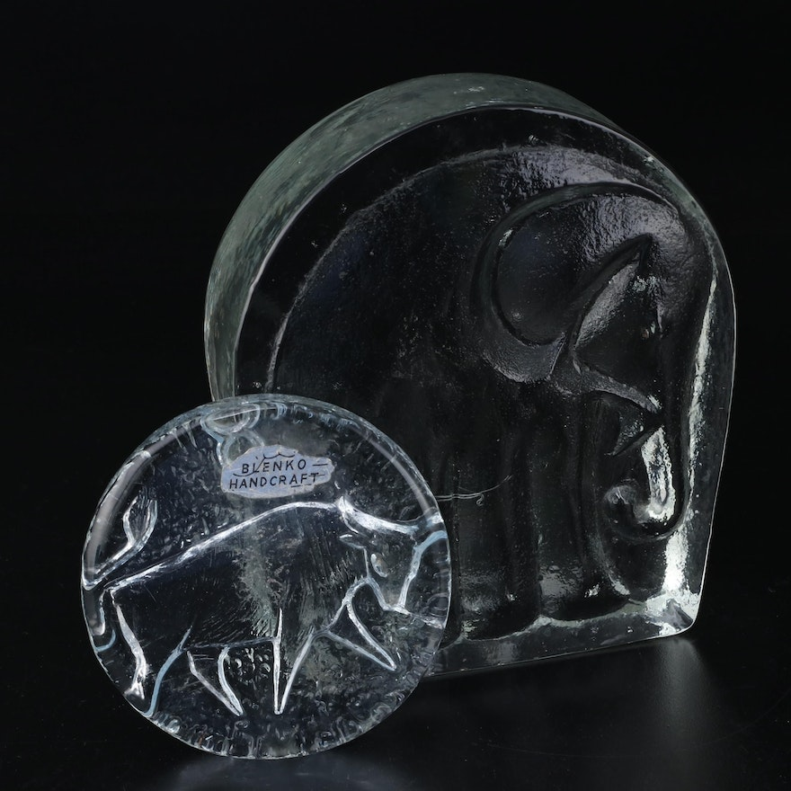 Blenko Glass Elephant Bookend and Bull Paperweight