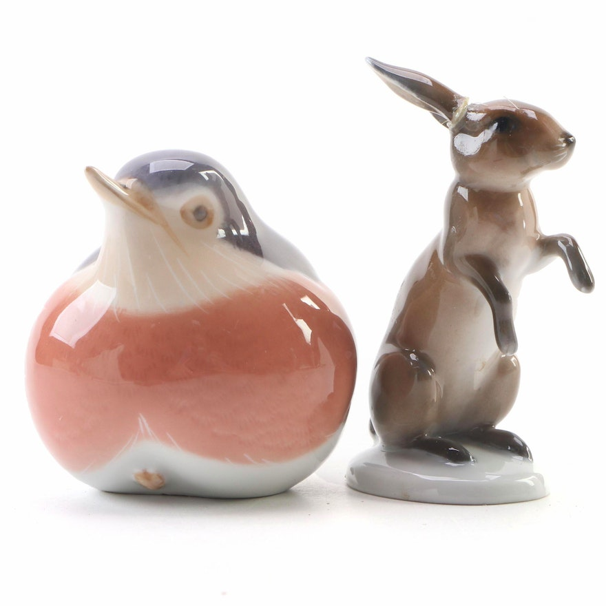 "Rosenthal ""Rabbit"" and Royal Copenhagen ""Robin"" Porcelain Figurines"