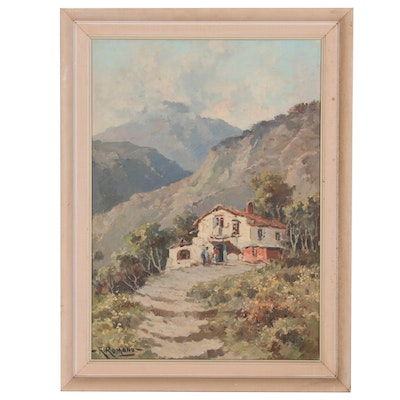 R. Romano Oil Painting of Mountain Landscape with Chalet, 20th Century