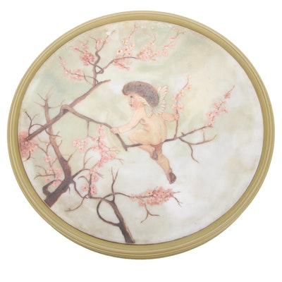 Hand-Painted Alabaster Wall Plate with Cherub on Cherry Blossom Tree