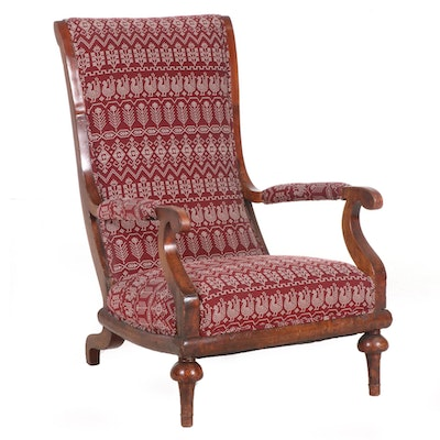William & Mary Style Burl Wood Upholstered Armchair, Early 20th Century