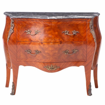 Louis XV Style Marble Top Bombé Chest of Drawers, Mid to Late 20th Century