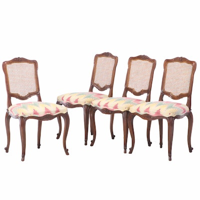 Four Kindel Furniture French Provincial Style Cherrywood Side Chairs