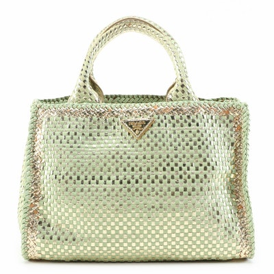 Prada Light Green and Metallic Gold Woven Leather Small Two-Way Tote