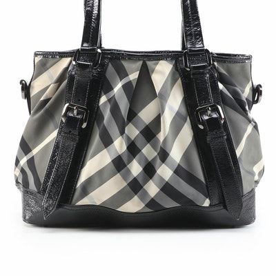 "Burberry Lowry Two-Way Tote in ""Beat Check"" Canvas and Black Patent Leather"