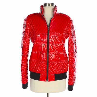 Chanel Red Quilted Bomber Style Jacket with Black Rib Knit Trim