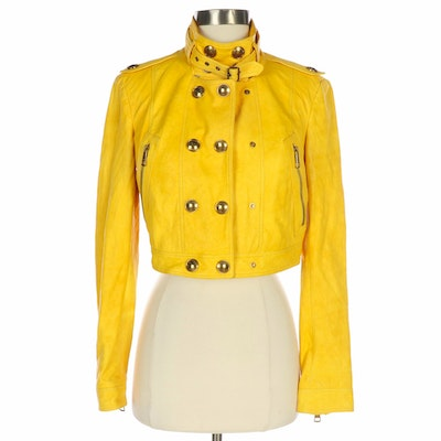 Burberry London Mustard Yellow Leather Cropped Motorcycle Jacket