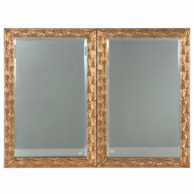 Vintage Gesso Wall Mirrors with Foliate Motif