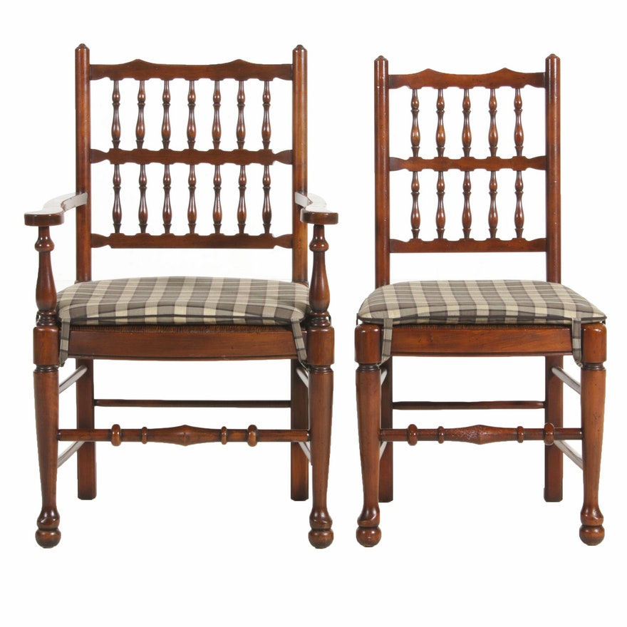 Wooden Chairs with Woven Cord Seats, Late 20th Century