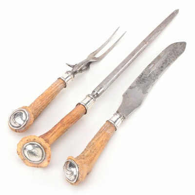 Antler and Sterling Silver Three-Piece Carving Set