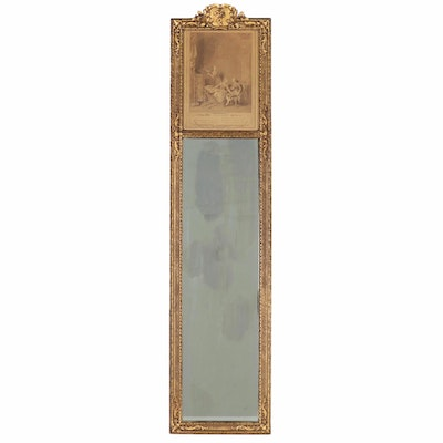 Victorian Style Giltwood Trumeau Mirror