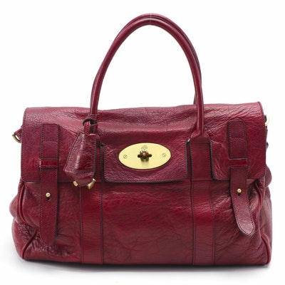 Mulberry Bayswater Satchel in Burgundy Grained Leather