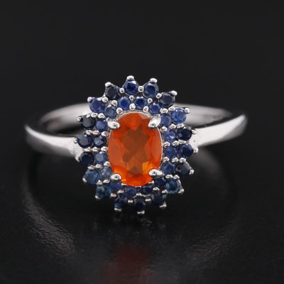 Sterling Oval Faceted Fire Opal and Sapphire Ring