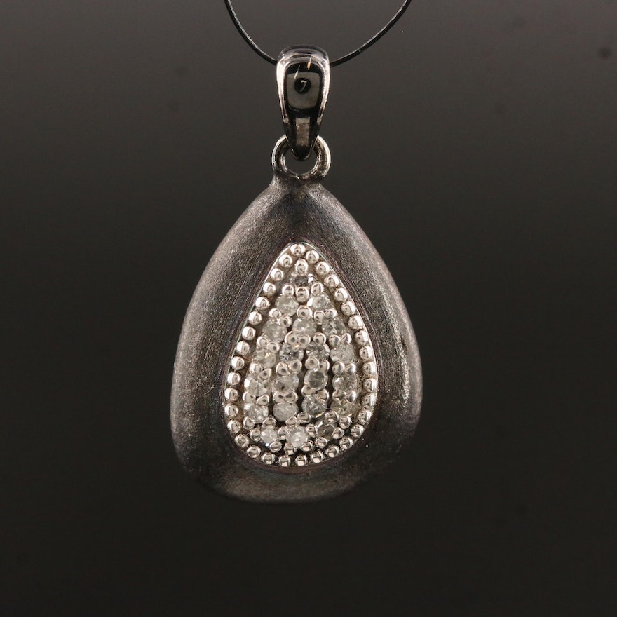 Sterling Silver Diamond Pendant with Satin Finish