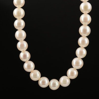 Vintage Mikimoto Pearl Necklace with Sterling Clasp and Box