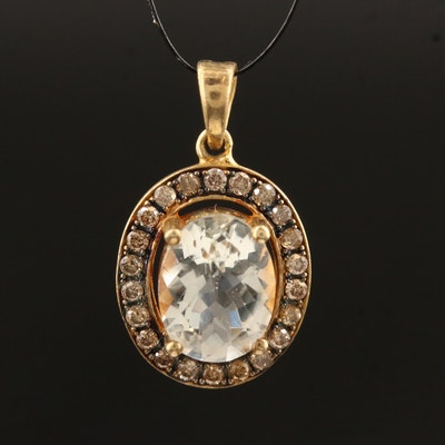Sterling Silver Quartz and Diamond Halo Pendant
