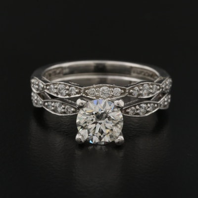 Tacori Platinum 1.30 CTW Diamond Ring Set with 1.00 CT Center