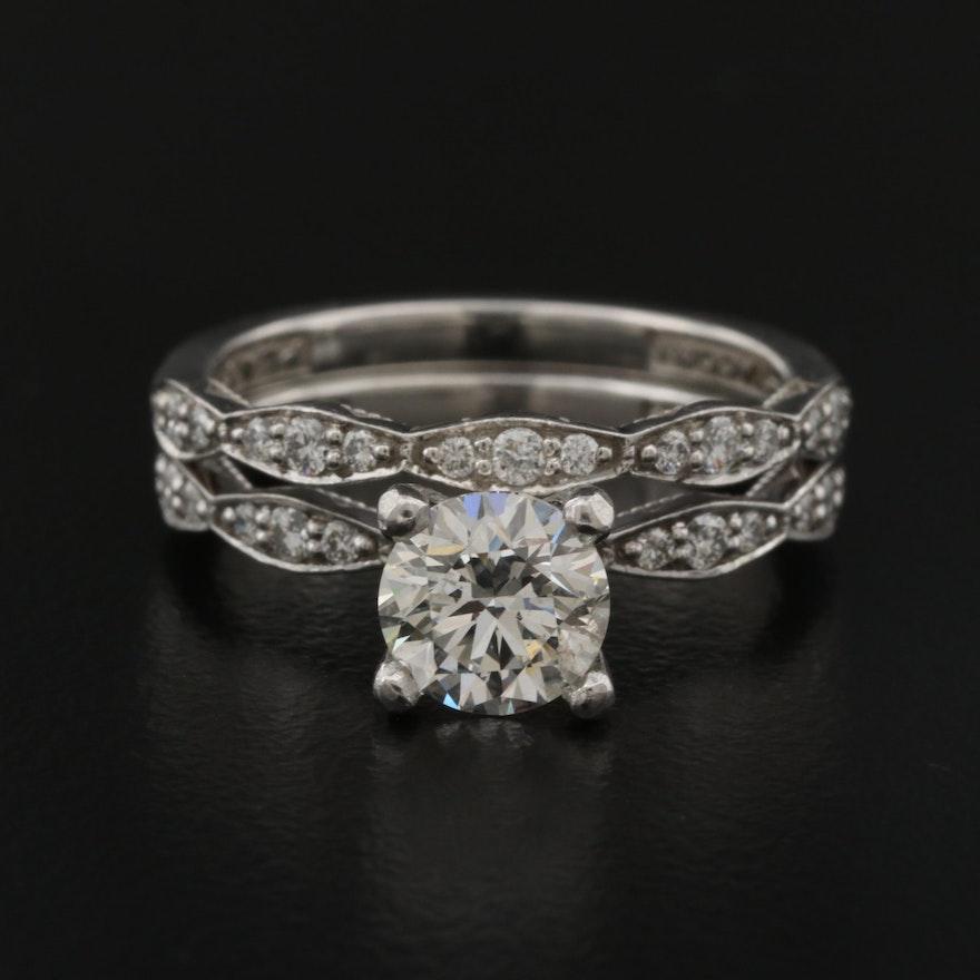 Tacori Platinum 1.30 CTW Diamond Ring Set with 1.00 CT Center