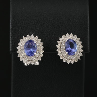 14K Tanzanite and 1.33 CW Diamond Oval Stud Earrings