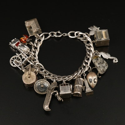 Sterling Charm Bracelet with Articulating Slot Machine and Lobster Trap Charm
