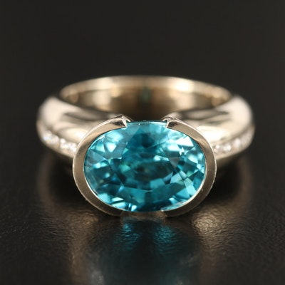 Contemporary 14K Topaz and Diamond Ring with Euro Shank