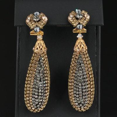 Dublos Rhinstone Oblong Dangle Earrings