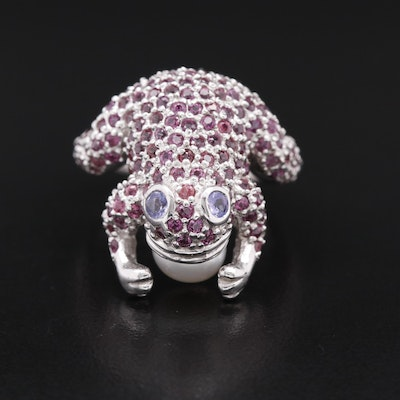 Sterling Garnet, Pearl and Tanzanite Frog Ring