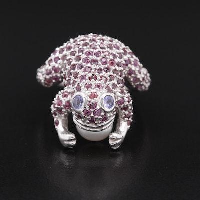 Sterling Garnet, Pearl and Tanzanite Frog Ring