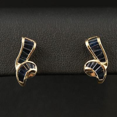 14K Sapphire Channel Earrings