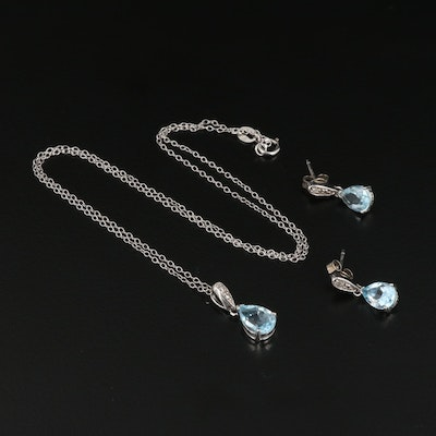 Sterling Silver Topaz and Diamond Teardrop Earrings and Pendant Necklace