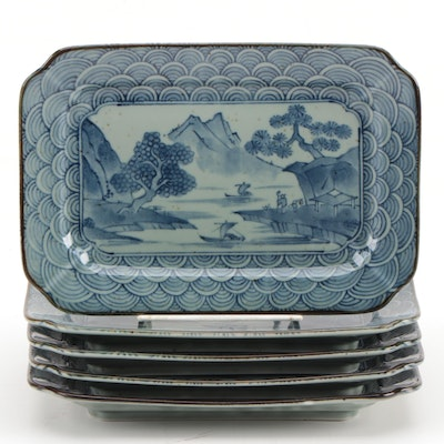 Japanese Porcelain Dishes with Pictorial Scene