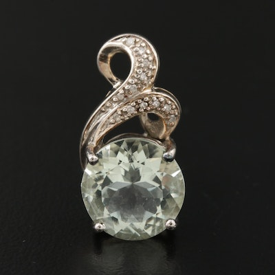 Sterling Silver Prasiolite and Diamond Pendant