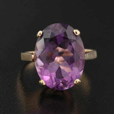 14K Oval Faceted Amethyst Ring
