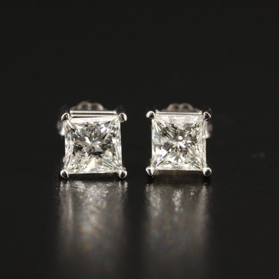 14K 2.21 CTW Princess Cut Solitaire Earrings