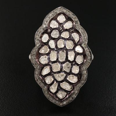 Sterling Silver Diamond Navette Cluster Ring