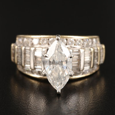 14K 4.37 CTW Diamond Ring Featuring Marquise Shaped Center with GIA Report