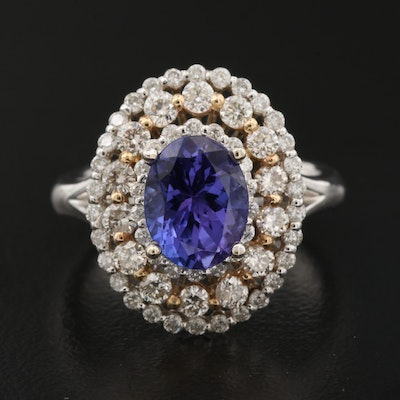 14K Tanzanite and 1.10 CTW Diamond Oval Ring