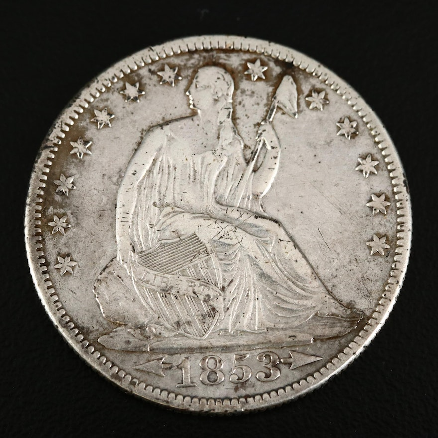 1853 Seated Liberty Arrows and Rays Variety Silver Half Dollar