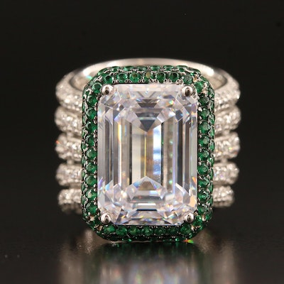 Sterling Silver Cubic Zirconia Ring with Quintuple Split Band