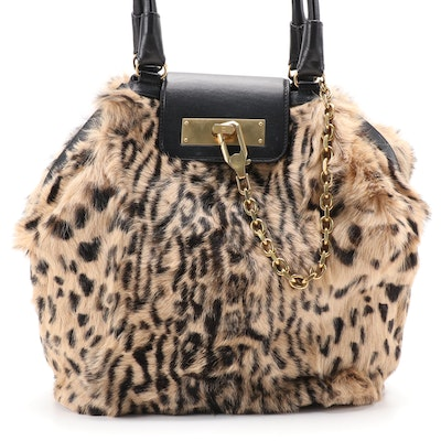 Escada Animal Print Faux Fur and Black Leather Shoulder Bag
