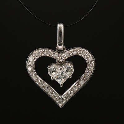 18K Diamond Heart Pendant with Articulated Center